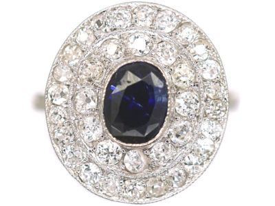 Art Deco Platinum Two Row Diamond & Sapphire Cluster Ring