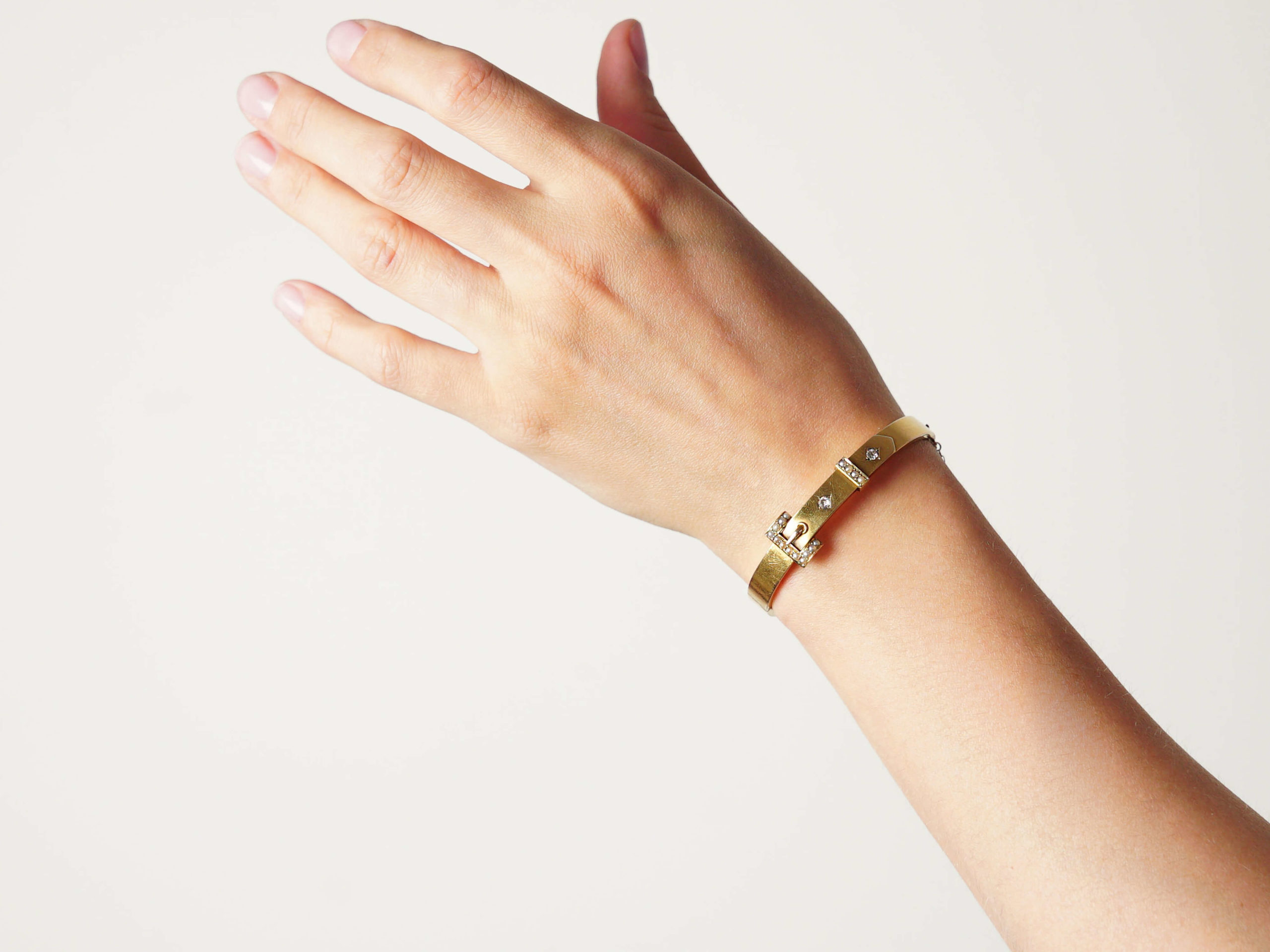 Edwardian 14ct Gold Buckle Bangle set with Natural Split Pearls & Rose Diamonds