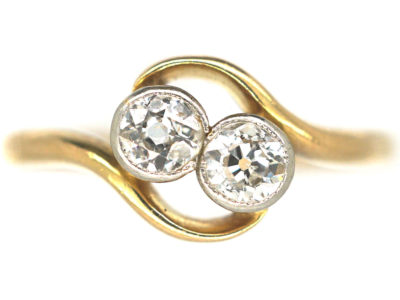 Edwardian 18ct Gold & Platinum, Two Stone Diamond Crossover Ring