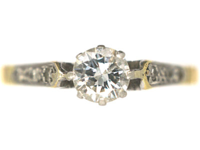 22ct Gold & Platinum Diamond Solitaire Ring with Diamond Set Shoulders