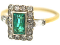 Art Deco 18ct Gold & Platinum, Emerald & Diamond Geometric Ring
