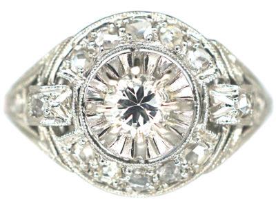 French Art Deco Platinum & Diamond Cluster Ring