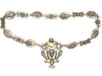Silver & Silver Gilt, Ruby & Natural Split Pearl Renaissance Revival Necklace