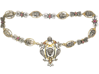 Silver & Silver Gilt, Ruby & Natural Split Pearl Renaissance Revival Necklace