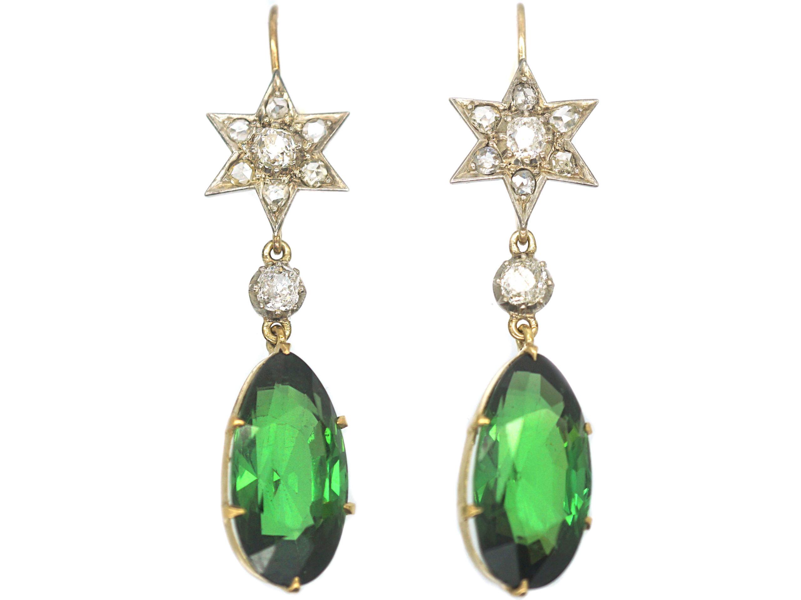 Victorian Green Tourmaline & Diamond Drop Earrings