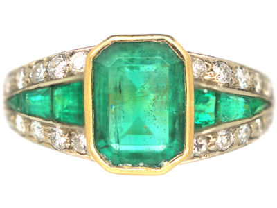 Retro 18ct Gold Emerald & Diamond Ring