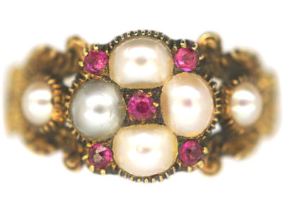Georgian 15ct Gold, Natural Pearl & Ruby Cluster Ring