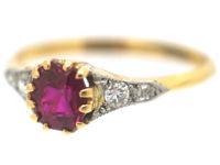 Edwardian 18ct Gold & Platinum, Ruby & Diamond Ring