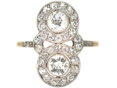 Edwardian 18ct Gold & Platinum Double Cluster Diamond Ring