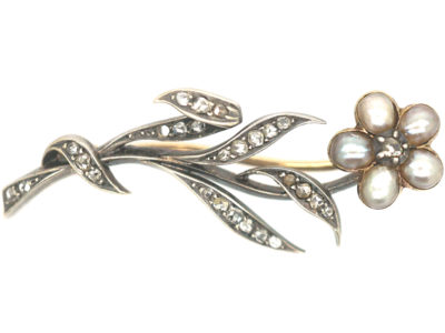 Edwardian Silver , Gold Diamond & Natural Split Pearls Flower Brooch