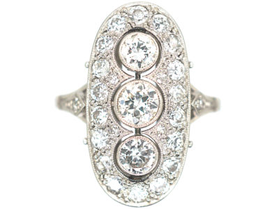 Art Deco Platinum & Diamond Oval Shaped Ring with Three Diamonds Down the Centre