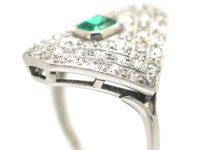 Art Deco Platinum Diamond Shaped Emerald & Diamond Ring