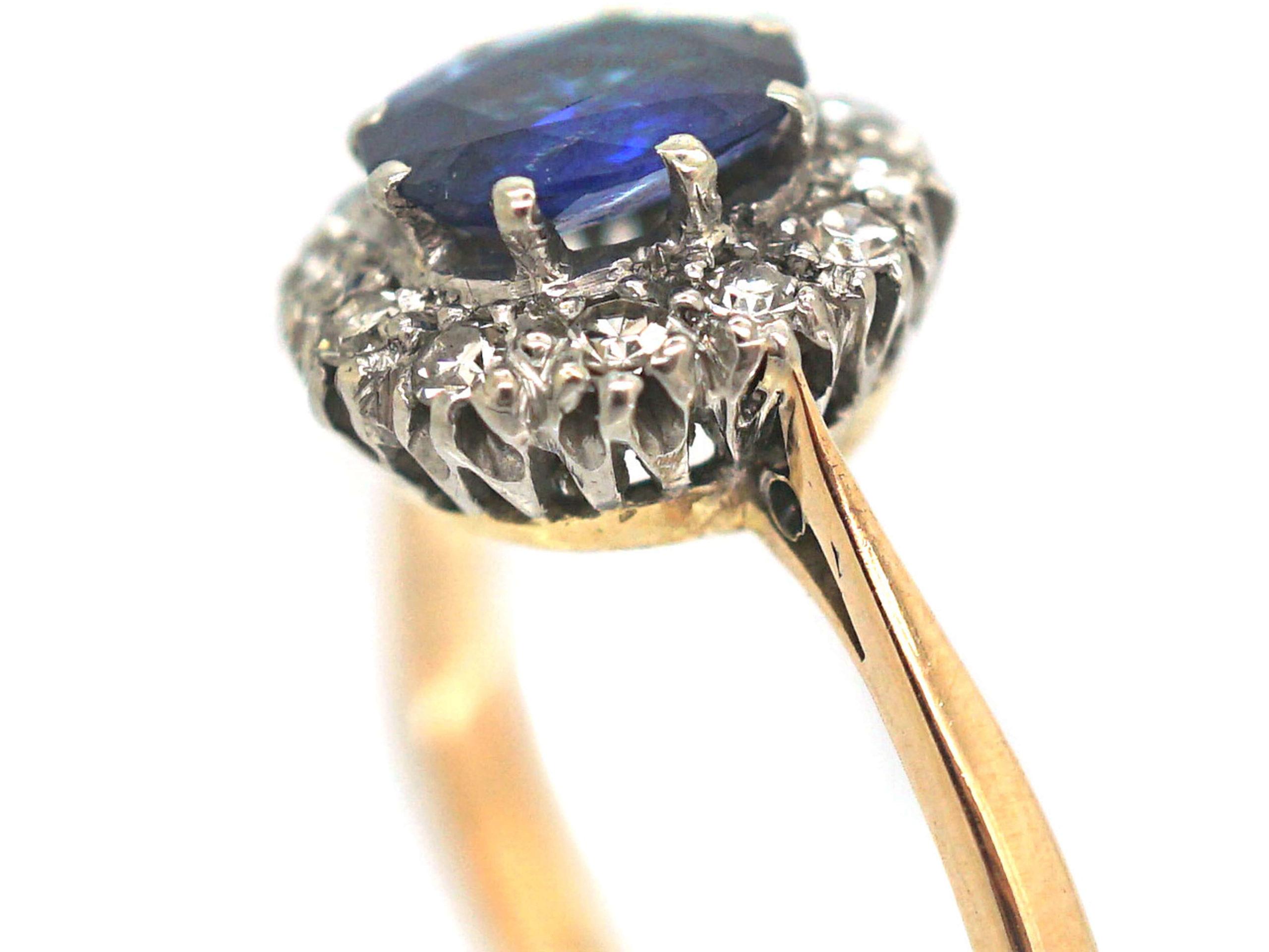 Art Deco 18ct Gold & Platinum, Sapphire & Diamond Oval Cluster Ring