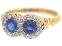 Edwardian 18ct Gold Double Cluster Sapphire & Diamond Ring