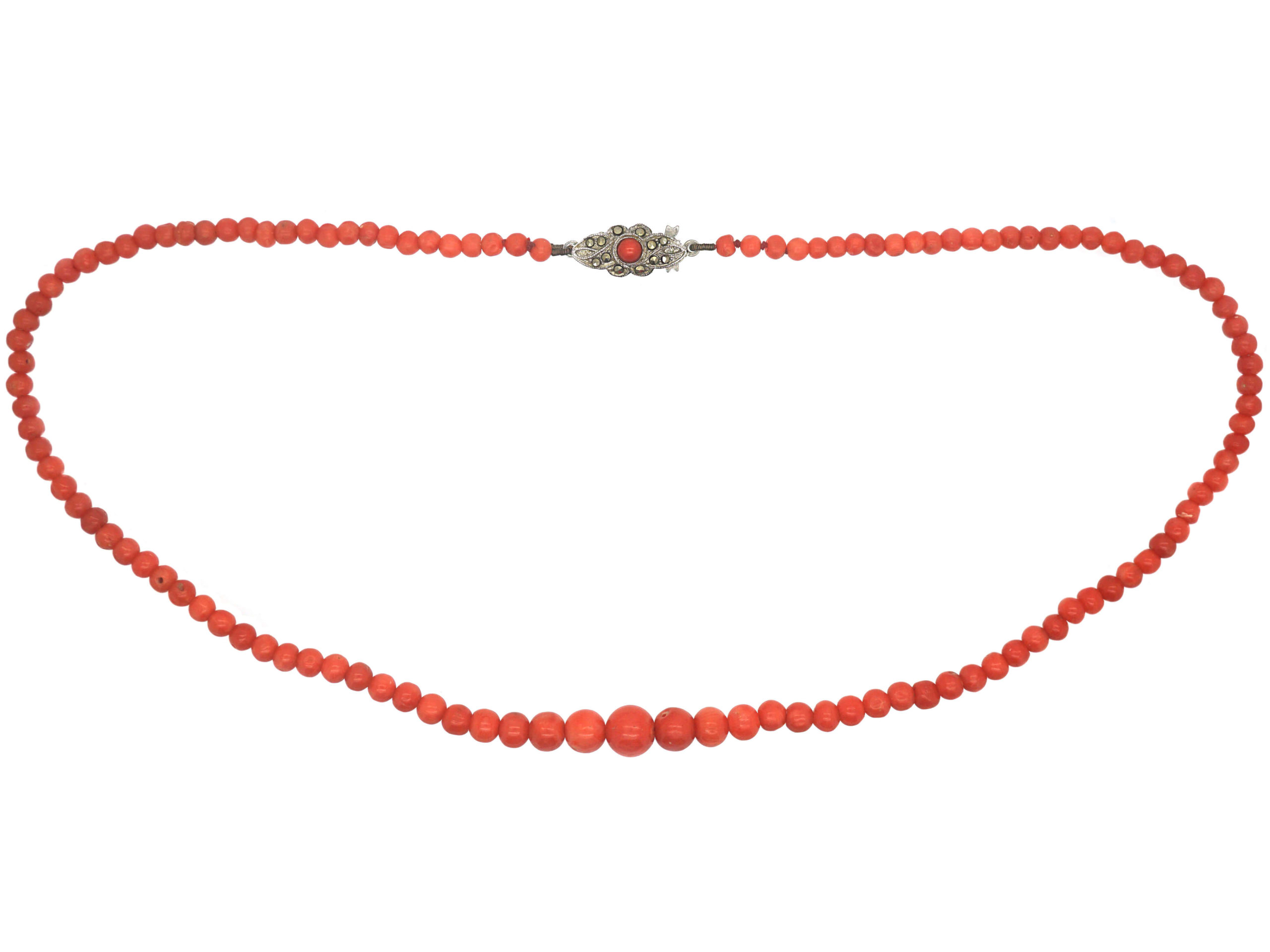 Coral Bead Necklace with Silver & Coral Clasp