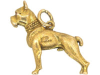 9ct Gold Bulldog Pendant with Ruby Eyes