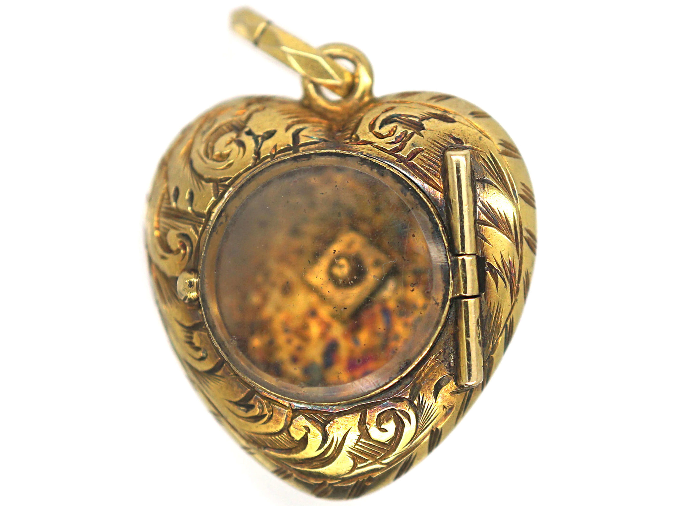 Georgian 15ct Gold Turquoise & Diamond Forget Me Not Heart Pendant with hinged Locket on Reverse