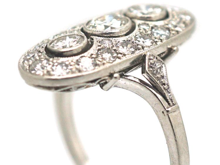 Art Deco Platinum & Diamond Oval Shaped Ring with Three Diamonds Down the Centre