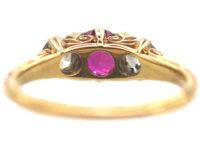Edwardian 18ct Gold, Ruby & Diamond Three Stone Carved Half Hoop Ring