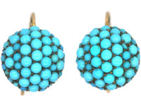 Victorian 15ct Gold Pave Set Forget Me Not Turquoise Round Earrings