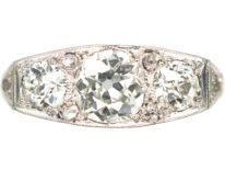 Art Deco 18ct Gold & Platinum Diamond Three Stone Ring