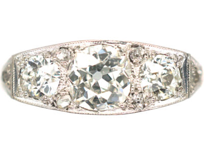 Art Deco 18ct Gold & Platinum Diamond Three Stone Ring