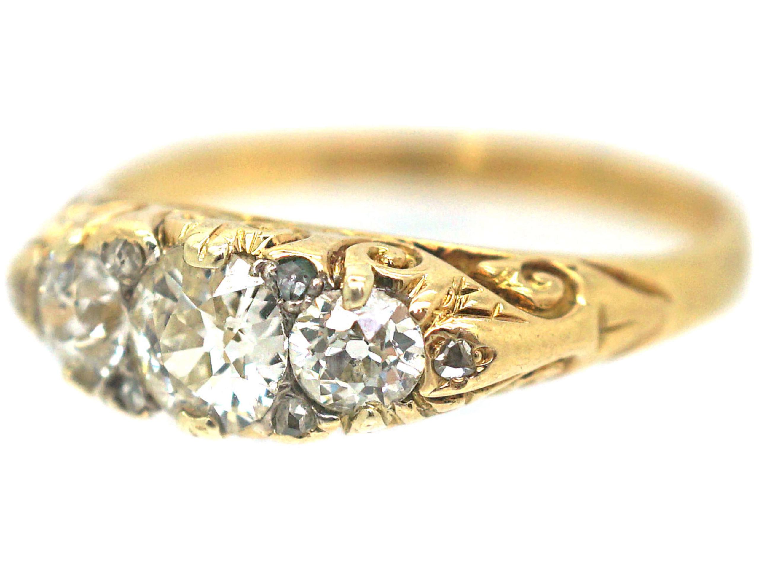 Victorian 18ct Gold Three Stone Diamond Carved Half Hoop Ring