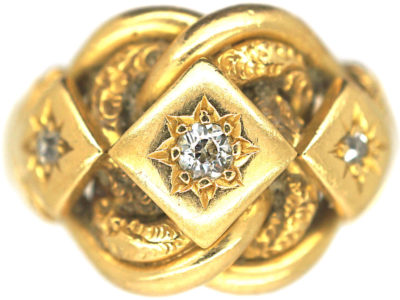 Edwardian 18ct Gold Knot Ring set with Three Diamonds