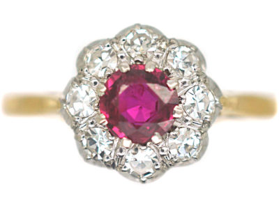 Edwardian 18ct Gold & Platinum Ruby & Diamond Cluster Ring