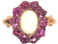 Edwardian 14ct Gold Opal & Ruby Cluster Ring