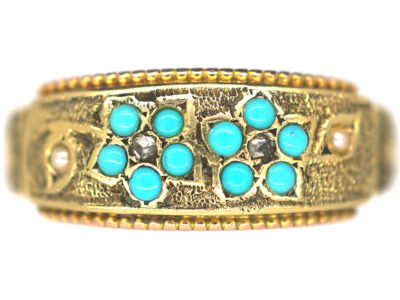 Victorian 15ct Gold Turquoise, Rose Diamond & Natural Split Pearl Forget Me Not Ring