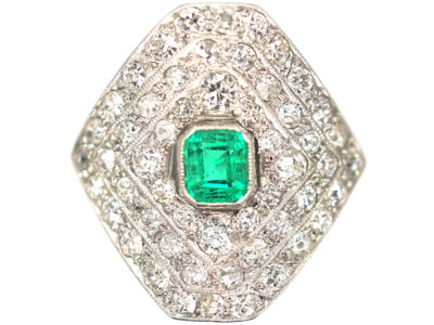 Art Deco Platinum Diamond Shaped Emerald & Diamond Ring