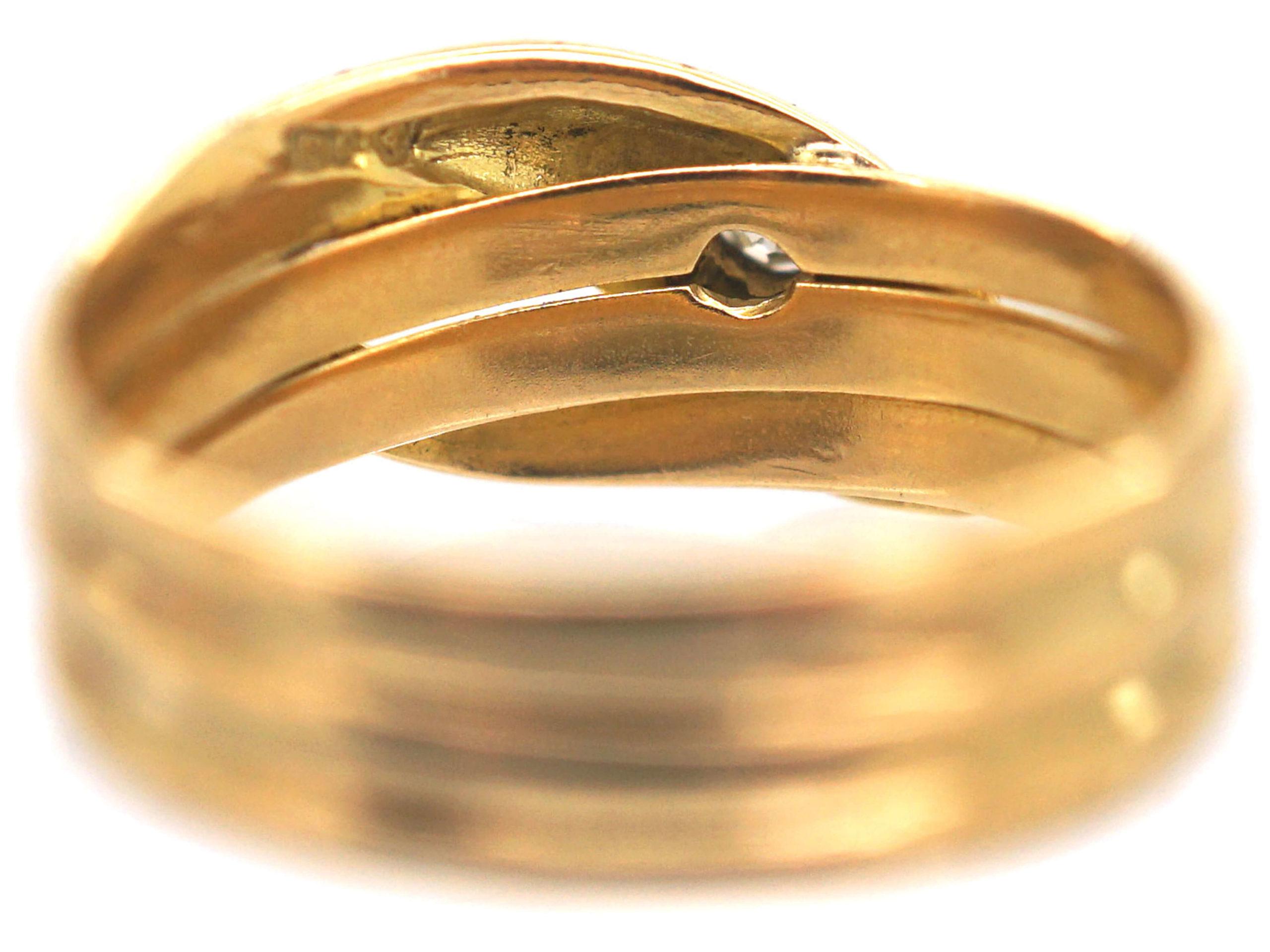 Edwardian 18ct Gold Snake Ring set with a Diamond