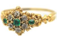 Georgian 18ct Gold, Emerald & Diamond Cluster Ring