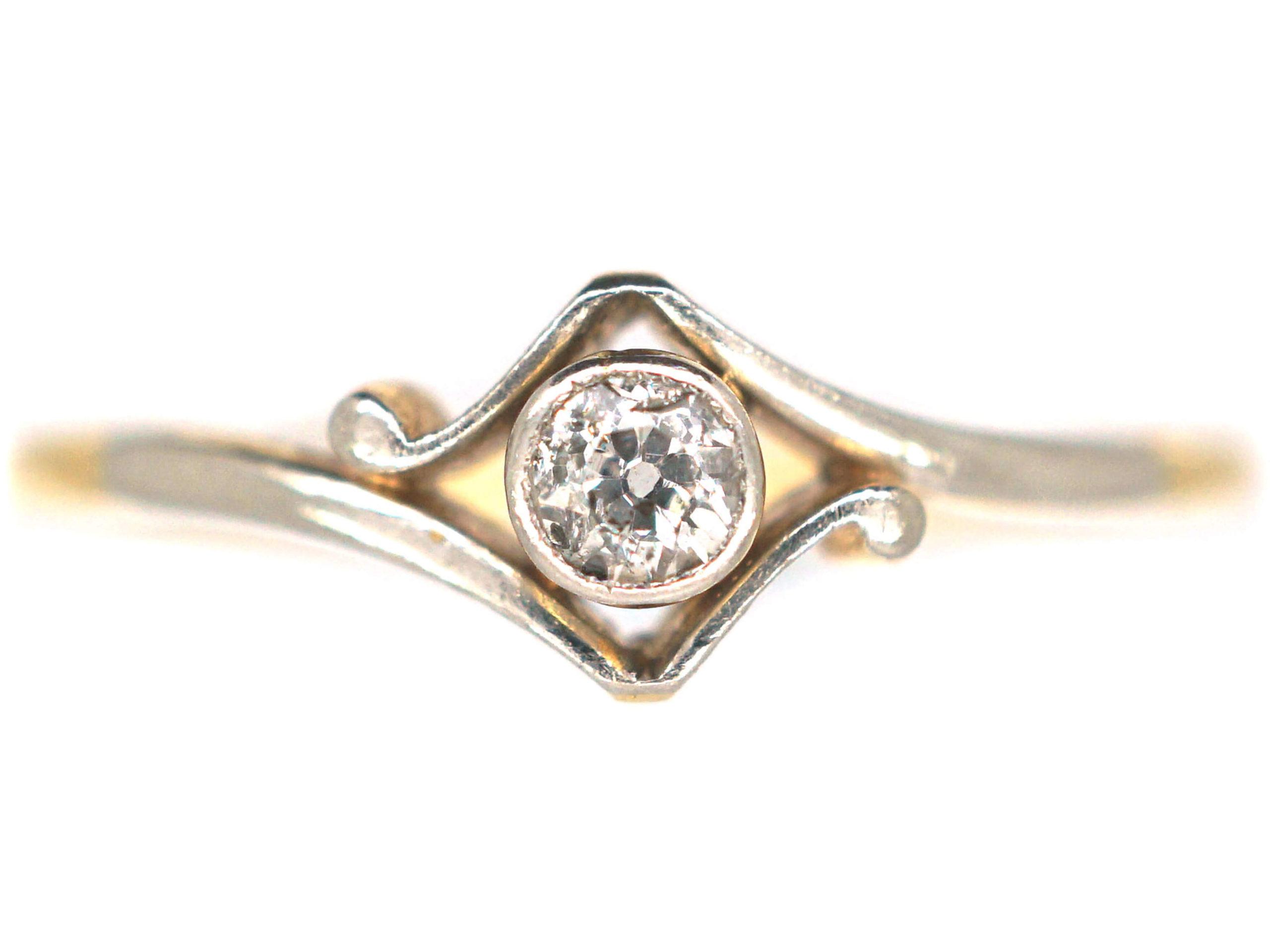 Art Deco 18ct Gold & Platinum, Diamond Solitaire Ring