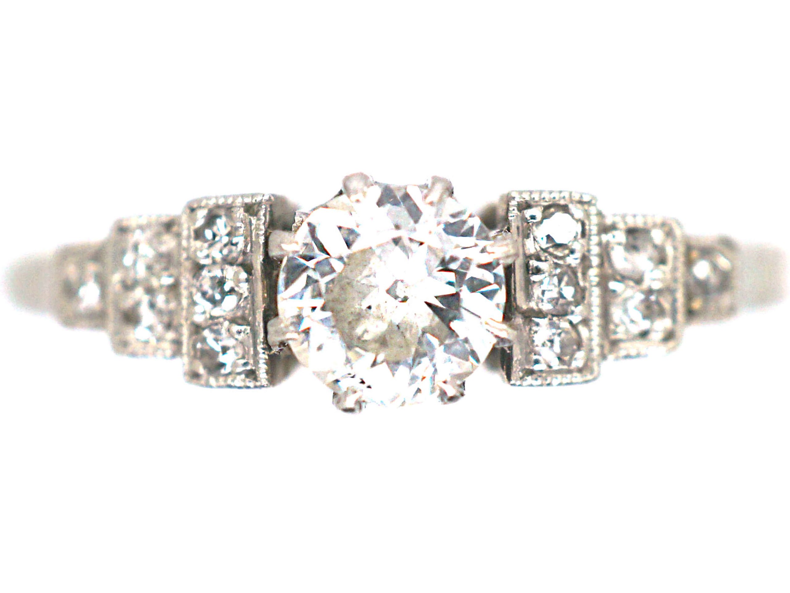 Art Deco 18ct White Gold & Platinum Diamond Solitaire Ring with Step Cut Shoulders