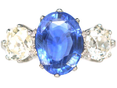 18ct White Gold & Platinum, Sapphire & Diamond Three Stone Ring