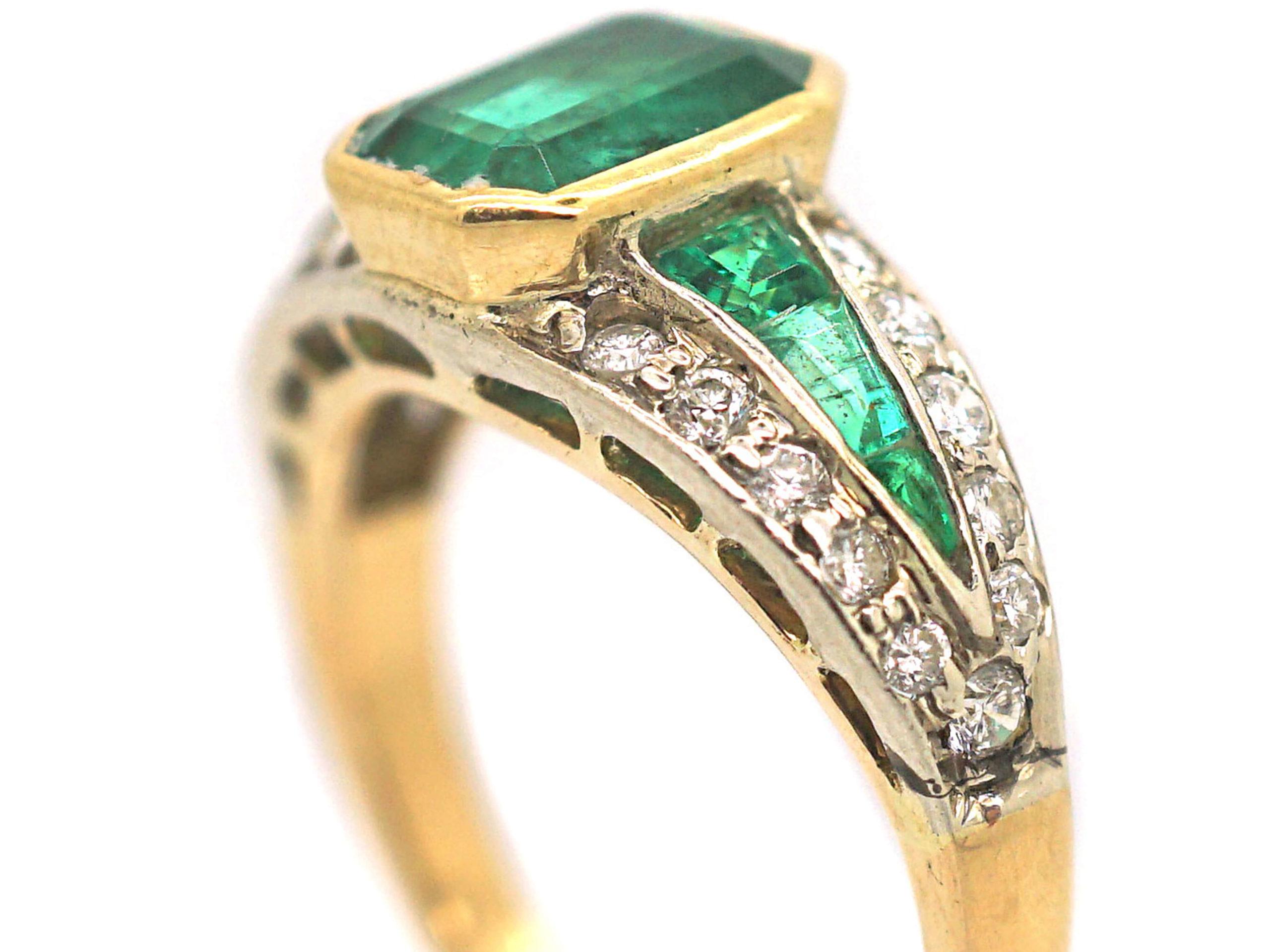 Retro 18ct Gold Emerald & Diamond Ring