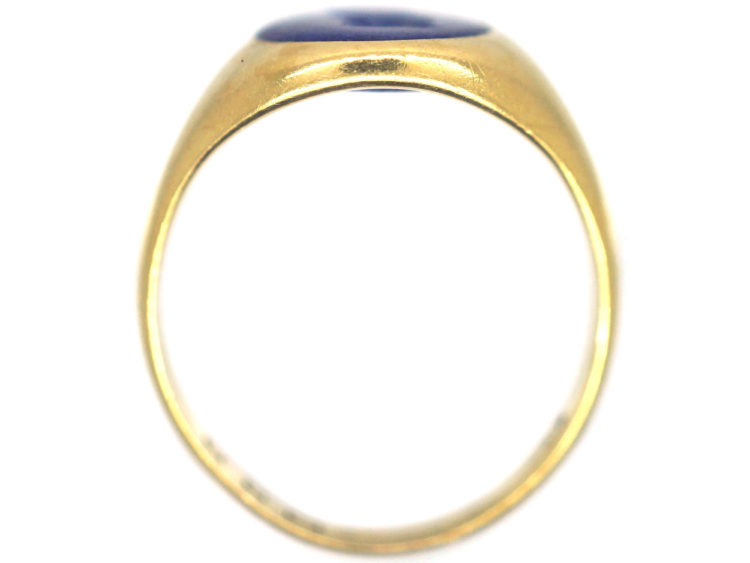 Victorian 18ct Gold & Lapis Lazuli Ring with Intaglio of a Bull