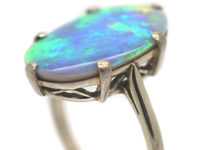 Art Deco 18ct White Gold Opal Harlequin Ring