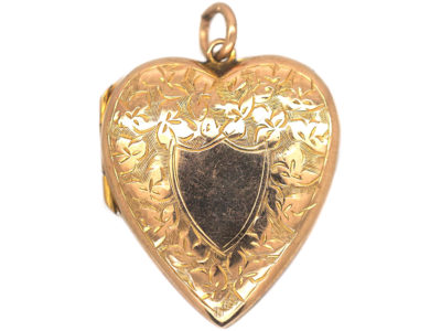 Edwardian 9ct Gold Back & Front Heart Shaped Locket