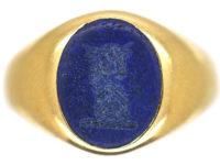 Edwardian 18ct Gold & Lapis Lazuli Signet Ring of a Bull
