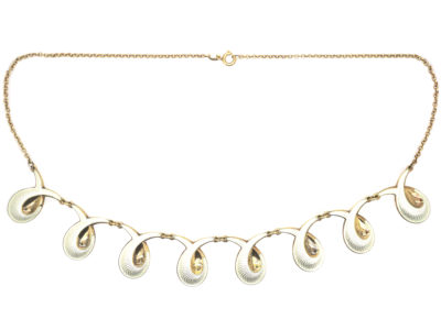 Retro Gilded Silver & White Enamel Necklace by Elvic & Co
