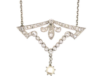 Edwardian 15ct Gold & Platinum, Diamond & Pearl Pendant on Silver Chain