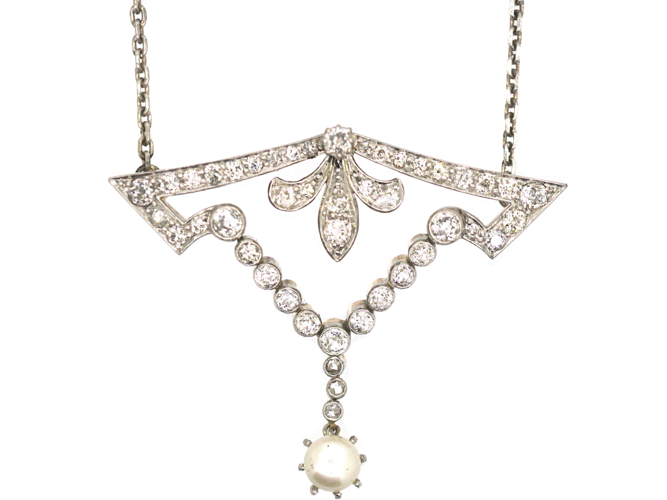Edwardian 15ct Gold & Platinum, Diamond & Pearl Pendant on Silver Chain