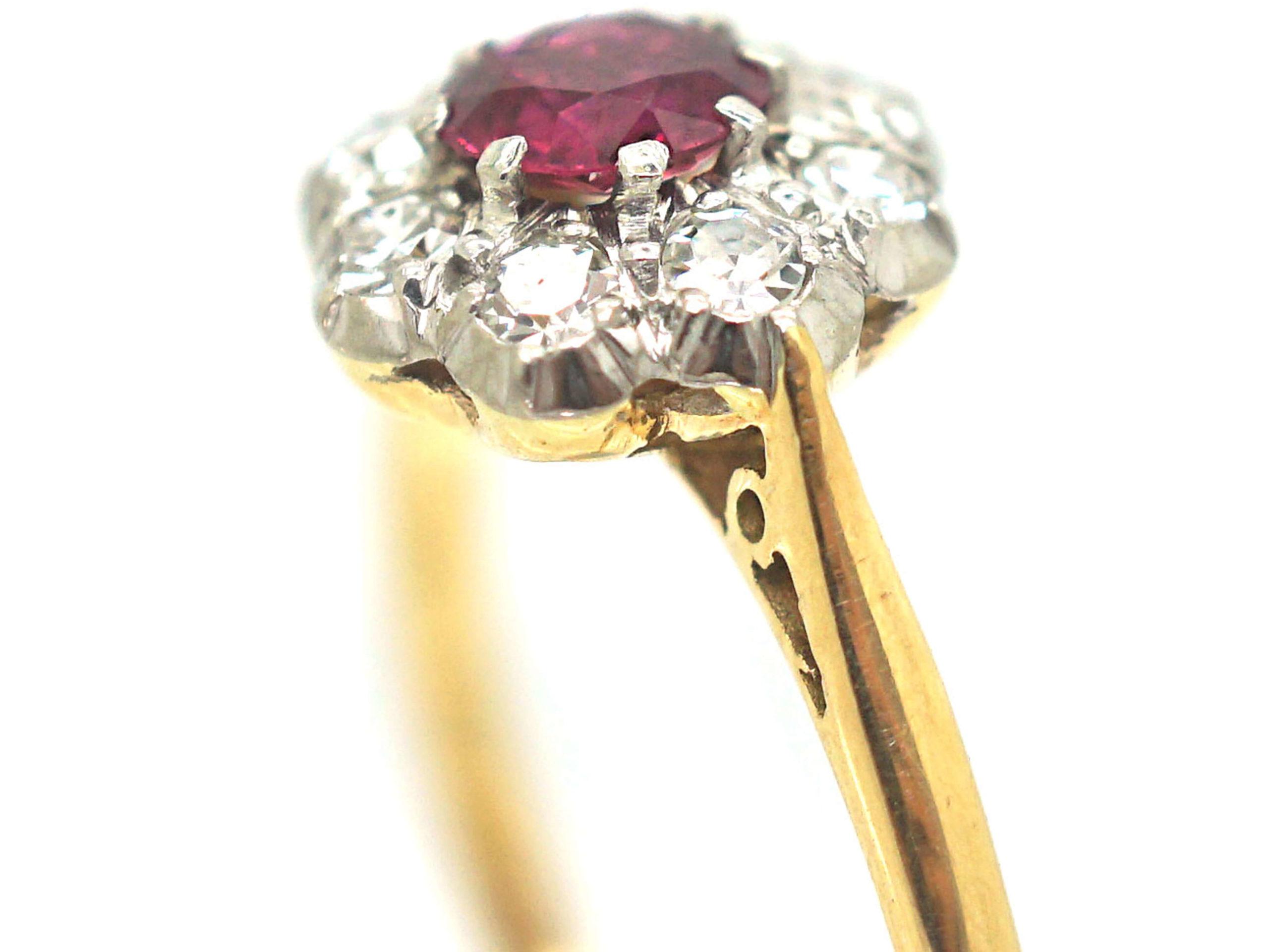 Edwardian 18ct Gold & Platinum Ruby & Diamond Cluster Ring