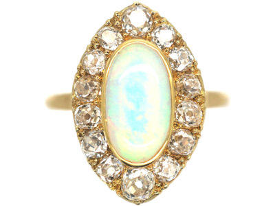 Edwardian 18ct Gold, Opal & Diamond Navette Shaped Ring