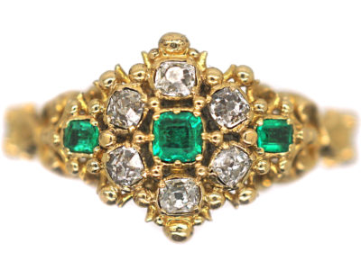 Georgian 18ct Gold, Emerald & Diamond Cluster Ring