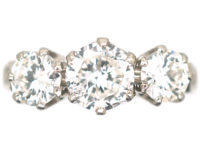 18ct White Gold Three Stone Diamond Ring with Diamond Set Shoulders