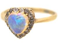 Edwardian 9ct Gold Heart Shaped Opal & Diamond Ring